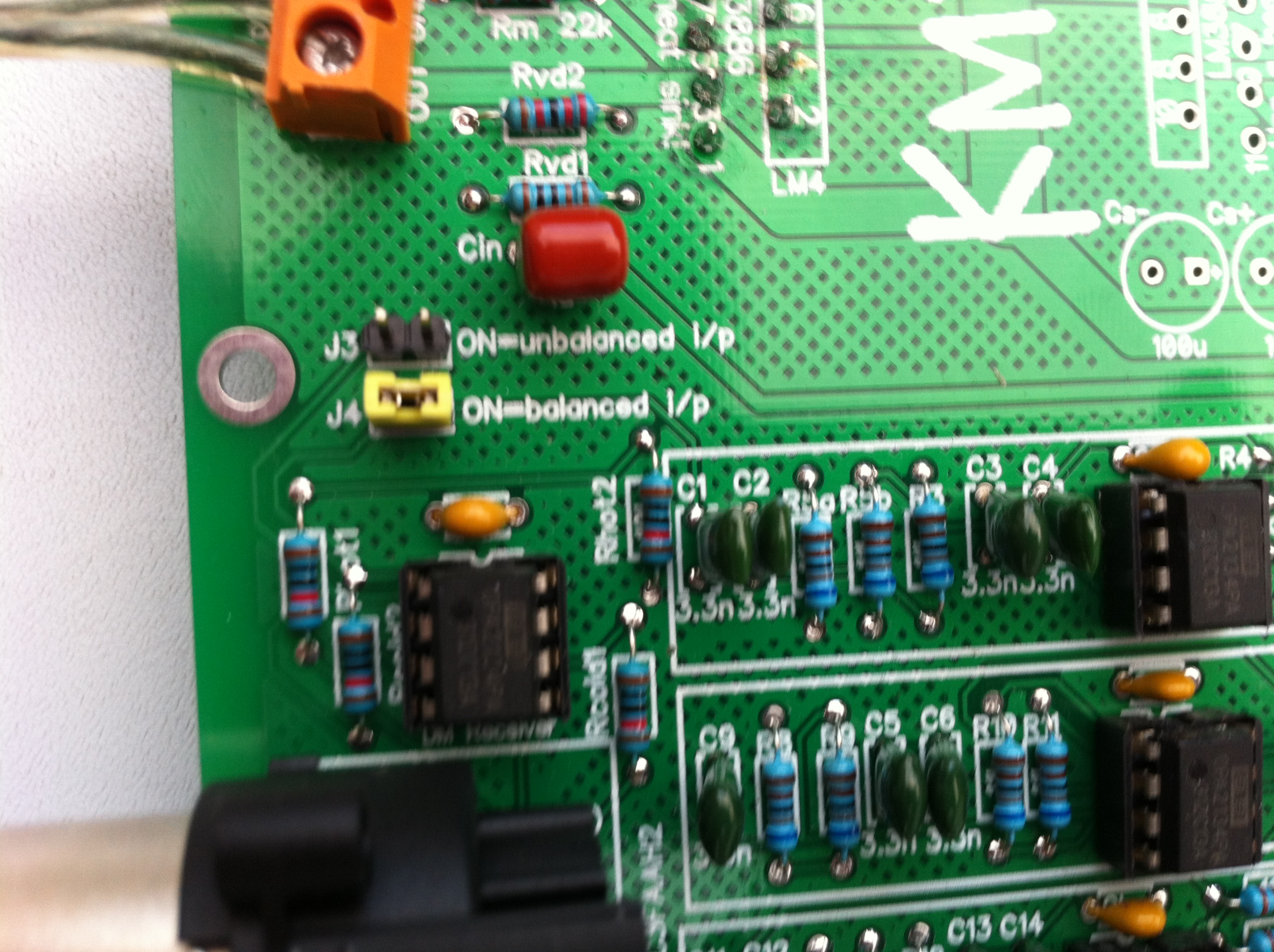 Kmtech Active Speaker Module Rev 101b Dual Ne5532 Subwoofer Processing Circuit Low Pass Filter Board Unbalanced Or Balanced Modes Are Selected By Shorting Jumpers J3 J4 Respectively Do Not Short Both At The Same Time Crossover Frequency